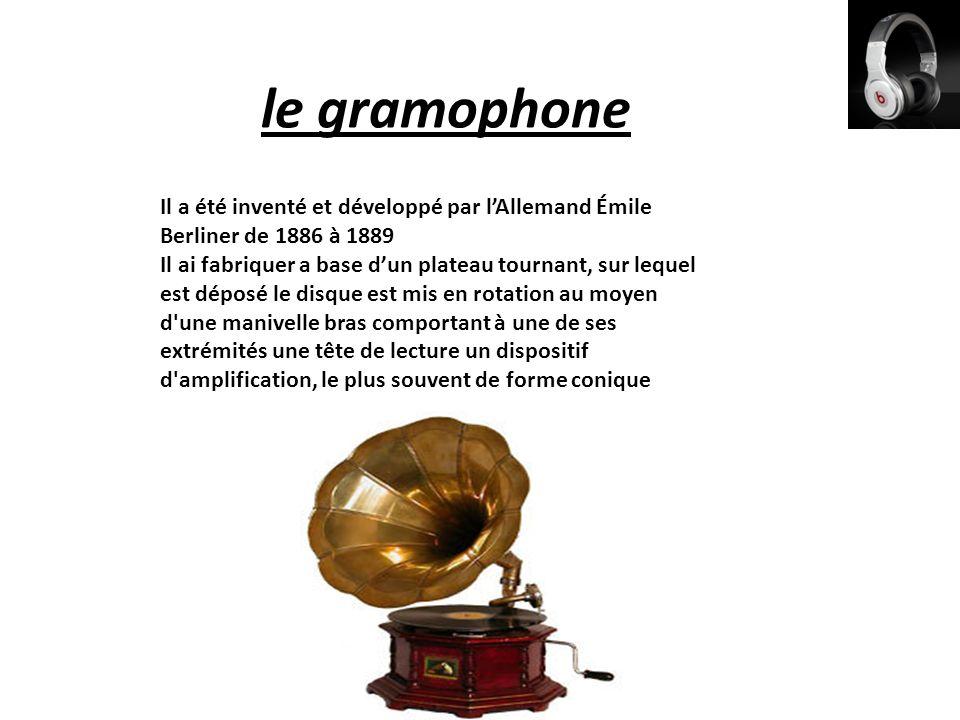 le gramophone Il a été inventé et développé par l'Allemand Émile Berliner de 1886 à 1889.