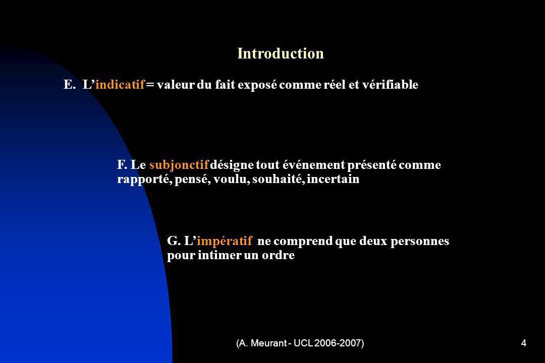 Introduction E. L'indicatif = valeur du fait exposé comme réel et vérifiable.