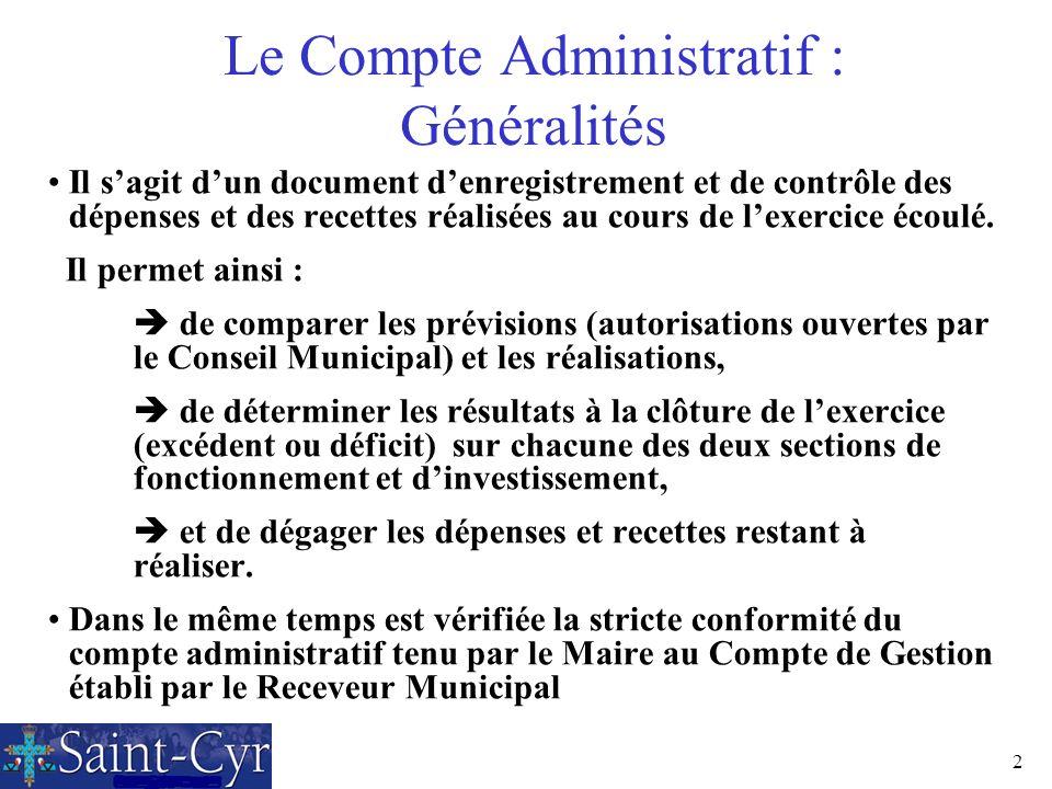 Le Compte Administratif : Généralités