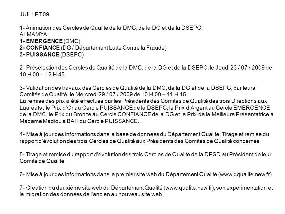 JUILLET 09 1- Animation des Cercles de Qualité de la DMC, de la DG et de la DSEPC: ALMAMYA: 1- EMERGENCE (DMC)