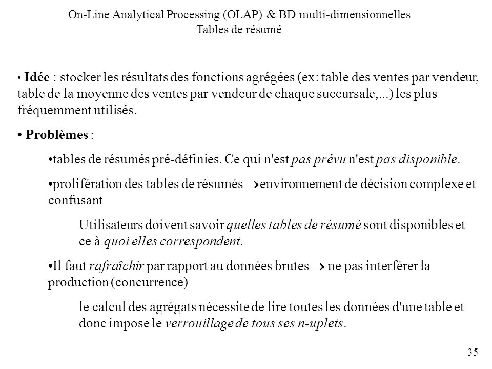 On-Line Analytical Processing (OLAP) & BD multi-dimensionnelles Tables de résumé