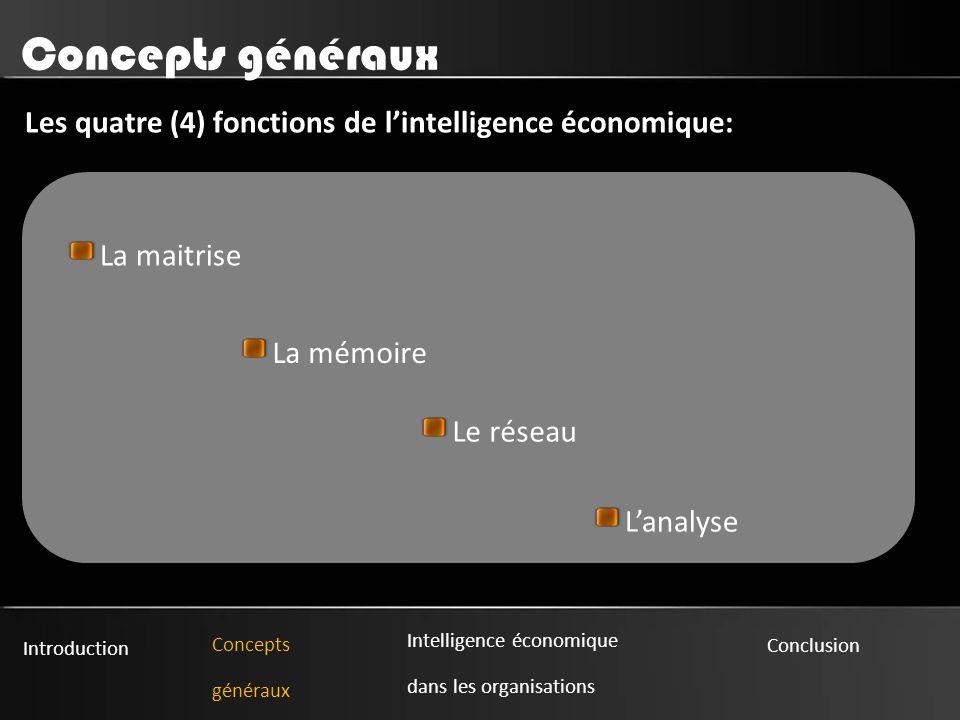 Concepts généraux Les quatre (4) fonctions de l'intelligence économique: La maitrise. La mémoire.