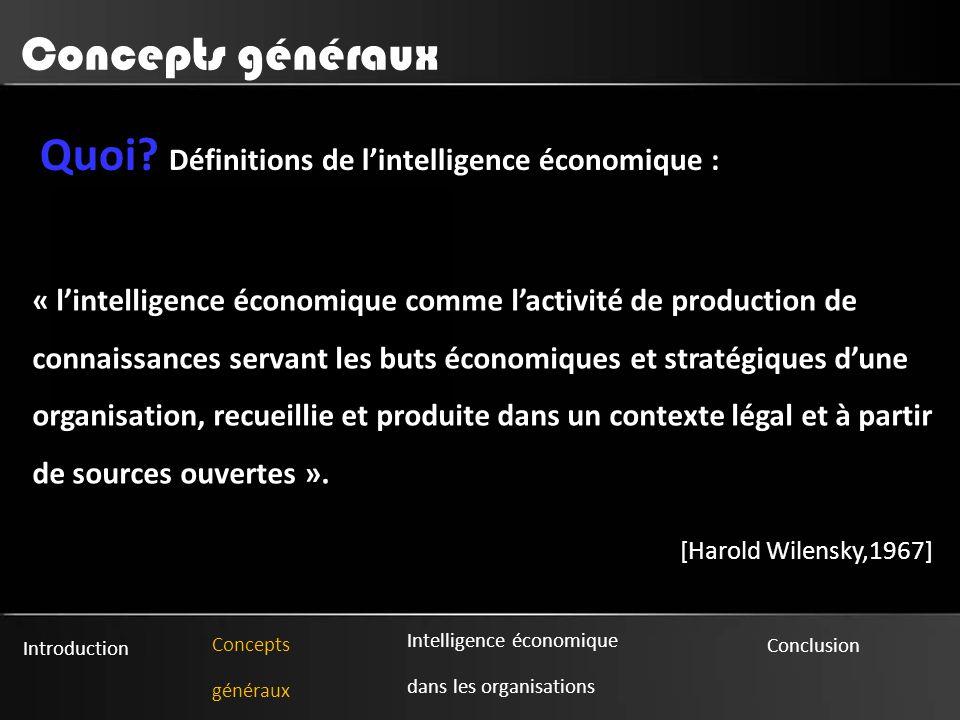 Quoi Définitions de l'intelligence économique :