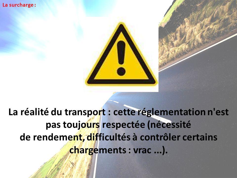 La surcharge : La réalité du transport : cette réglementation n est pas toujours respectée (nécessité.
