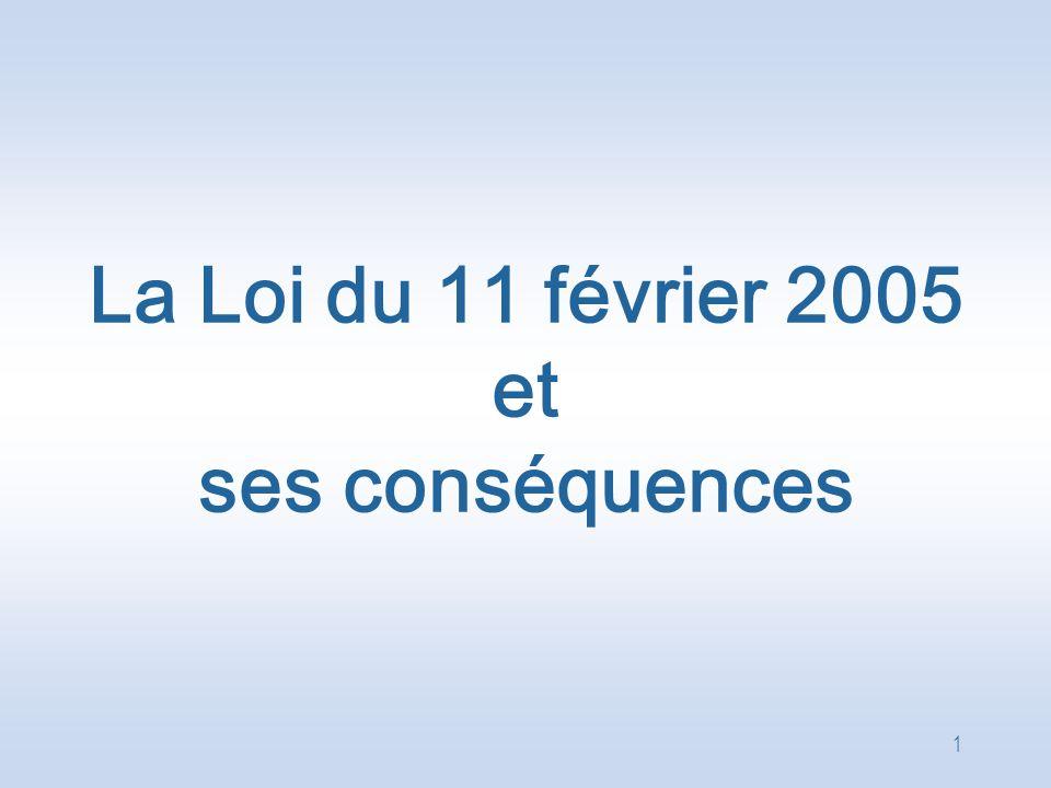 La Loi du 11 février 2005 et ses conséquences