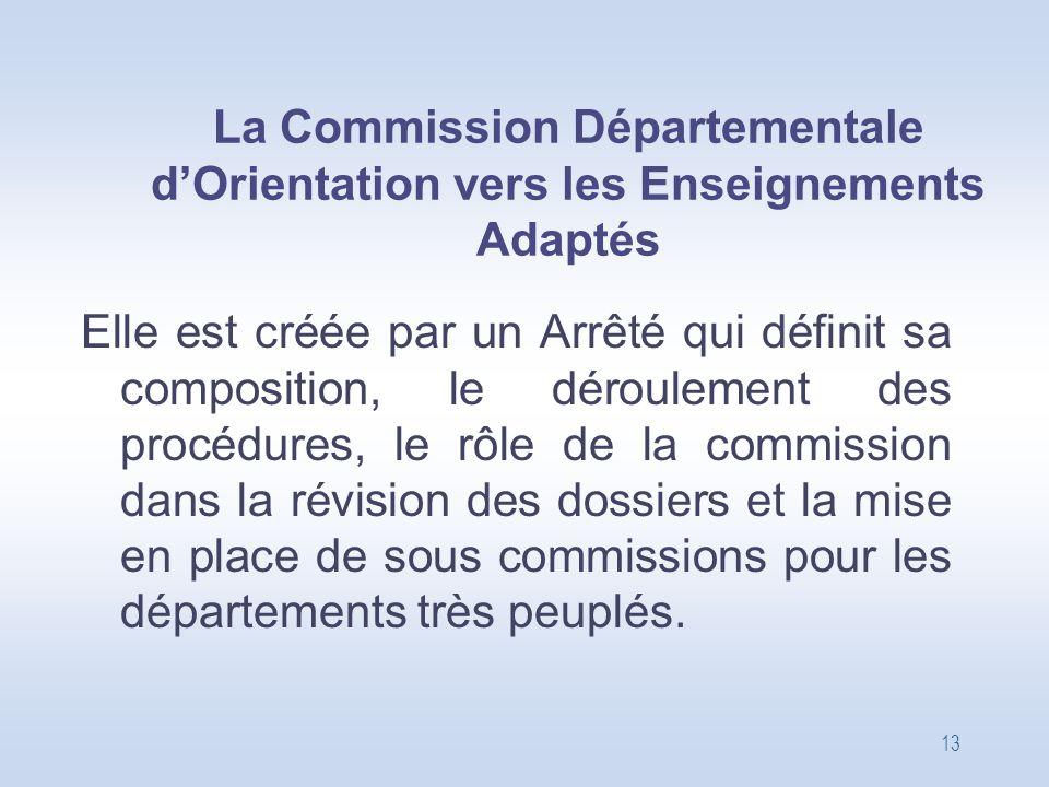 La Commission Départementale d'Orientation vers les Enseignements Adaptés
