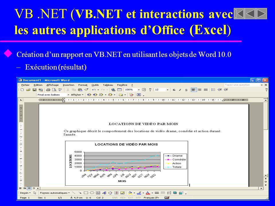 Création d'un rapport en VB.NET en utilisant les objets de Word 10.0