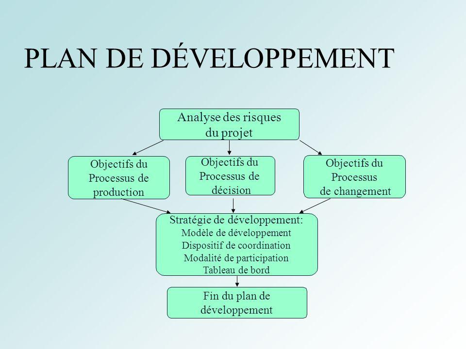 PLAN DE DÉVELOPPEMENT Analyse des risques du projet Objectifs du