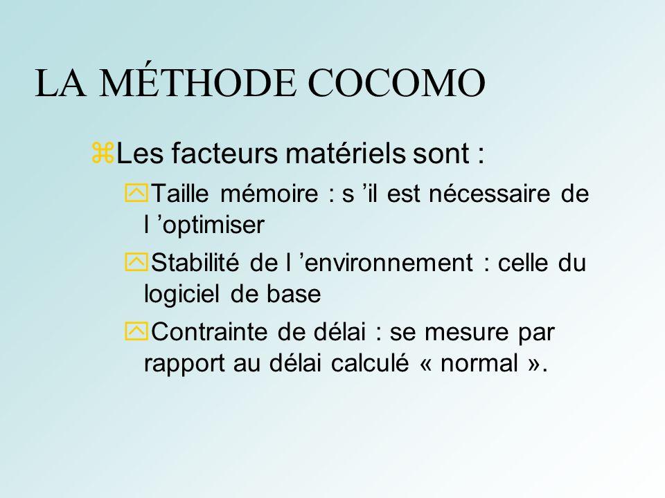 LA MÉTHODE COCOMO Les facteurs matériels sont :