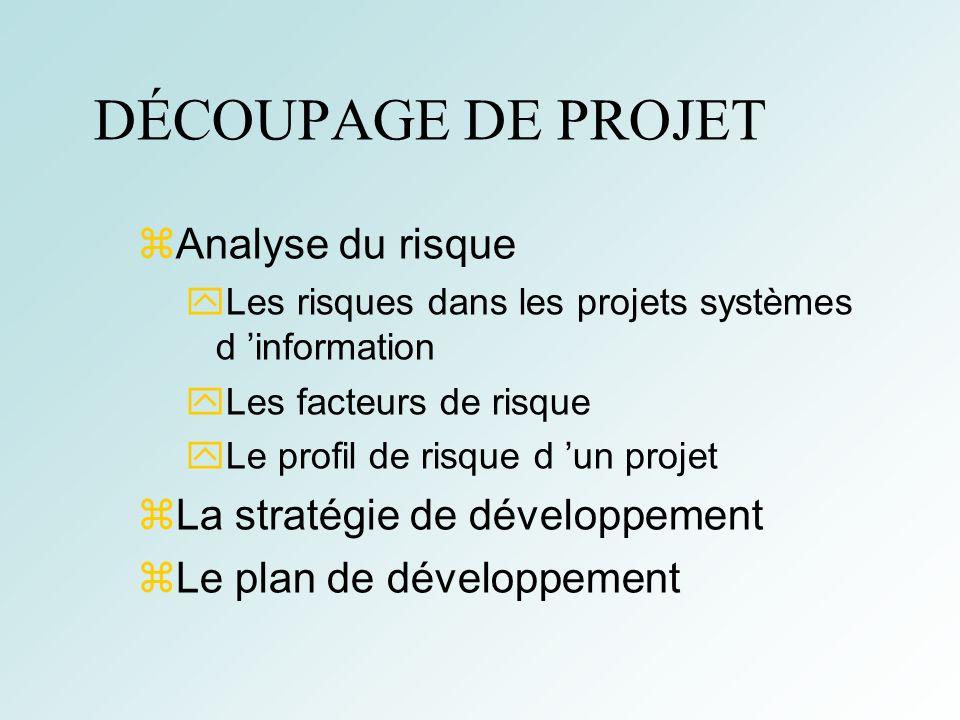 DÉCOUPAGE DE PROJET Analyse du risque La stratégie de développement