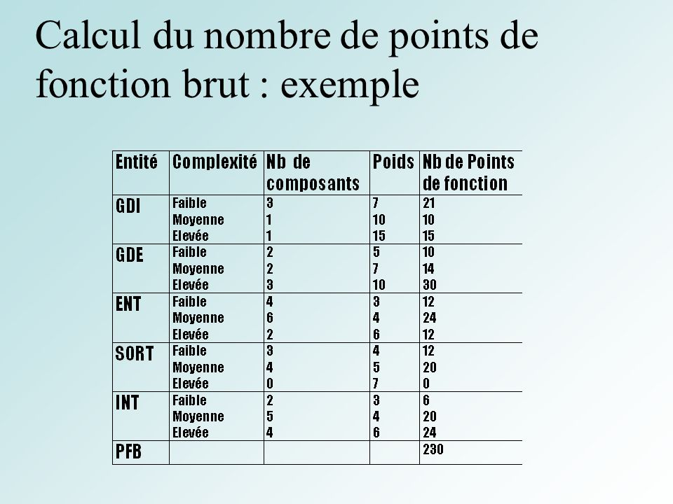 Calcul du nombre de points de fonction brut : exemple