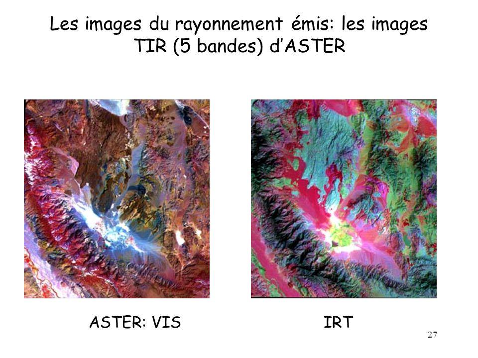 Les images du rayonnement émis: les images TIR (5 bandes) d'ASTER