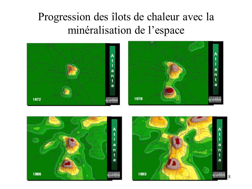 Progression des îlots de chaleur avec la minéralisation de l'espace