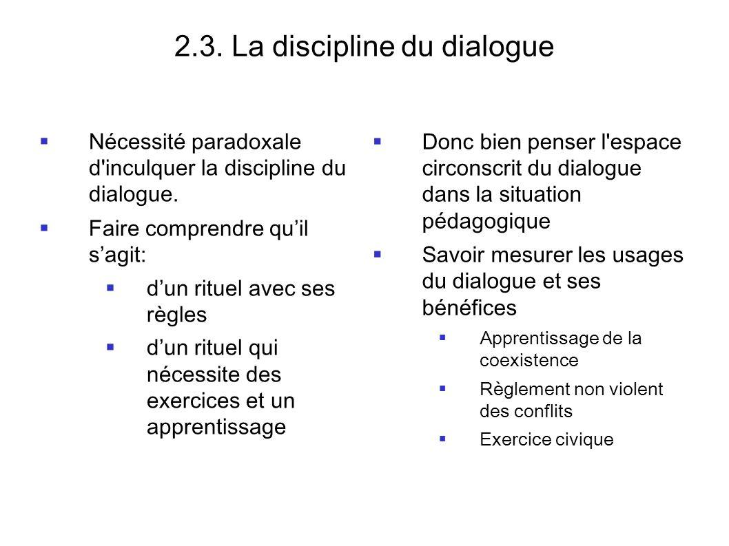 2.3. La discipline du dialogue
