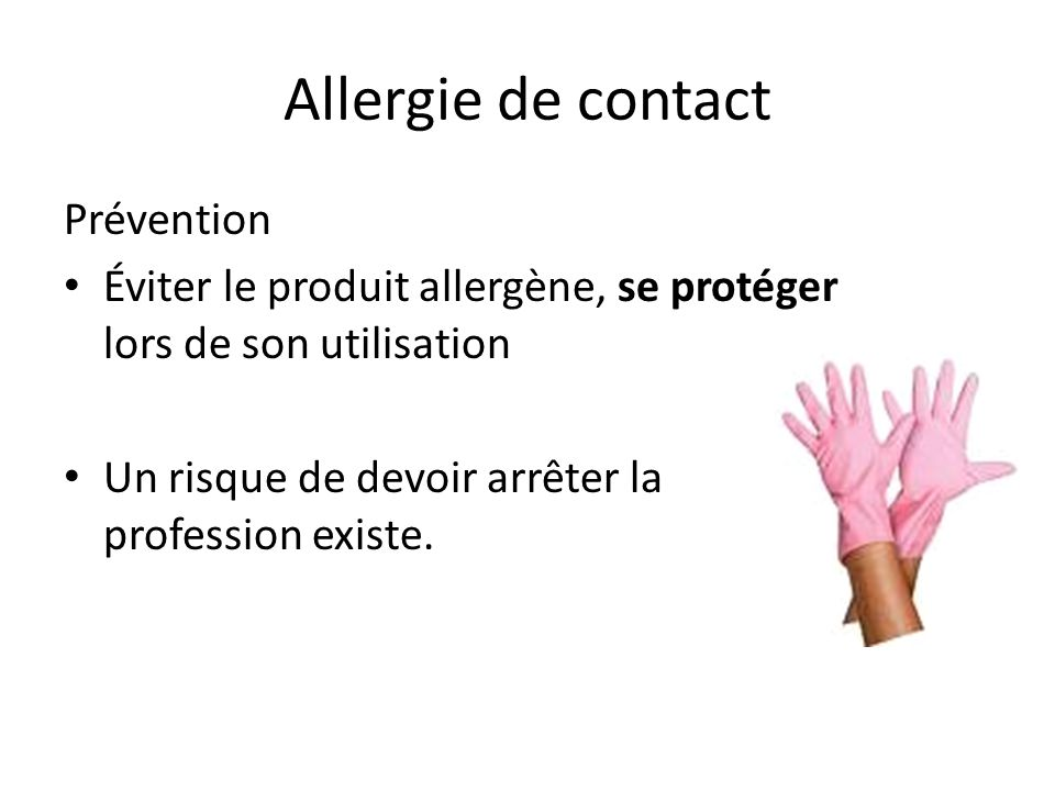 Allergie de contact Prévention