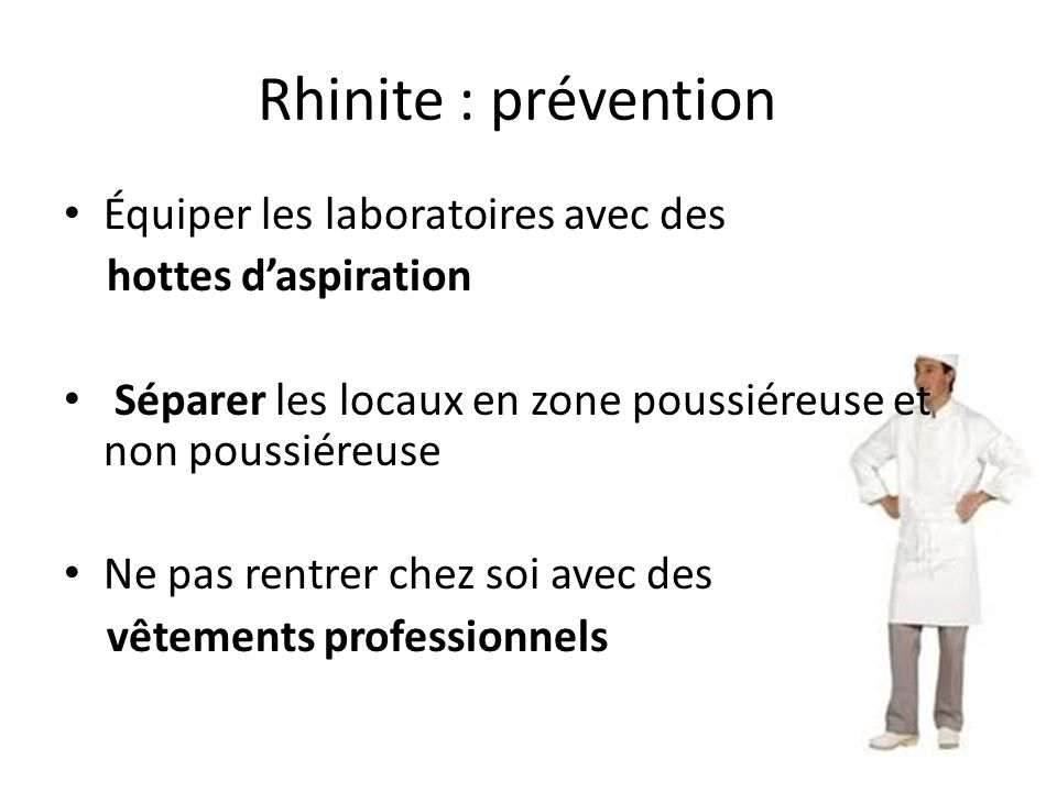 Rhinite : prévention Équiper les laboratoires avec des