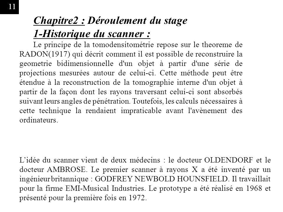 Chapitre2 : Déroulement du stage 1-Historique du scanner :