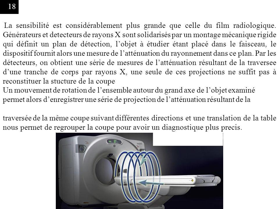 La sensibilité est considérablement plus grande que celle du film radiologique. Générateurs et detecteurs de rayons X sont solidarisés par un montage mécanique rigide qui définit un plan de détection, l'objet à étudier étant placé dans le faisceau, le dispositif fournit alors une mesure de l'atténuation du rayonnement dans ce plan. Par les détecteurs, on obtient une série de mesures de l'atténuation résultant de la traversee d'une tranche de corps par rayons X, une seule de ces projections ne suffit pas à reconstituer la stucture de la coupe