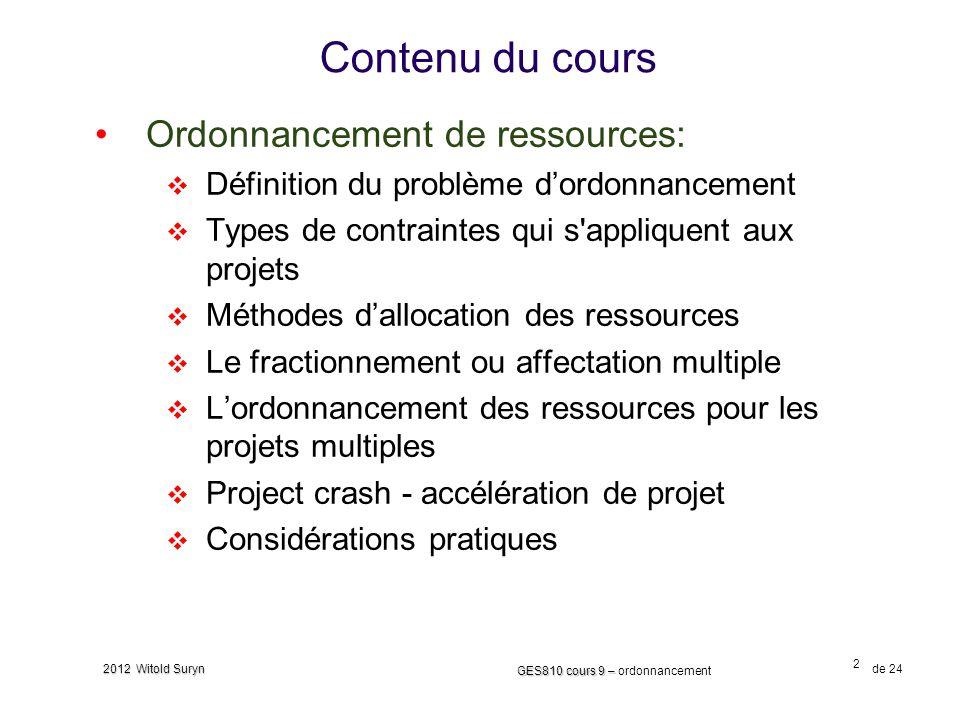 Contenu du cours Ordonnancement de ressources:
