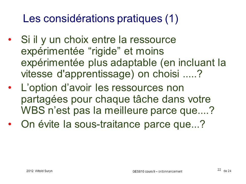 Les considérations pratiques (1)