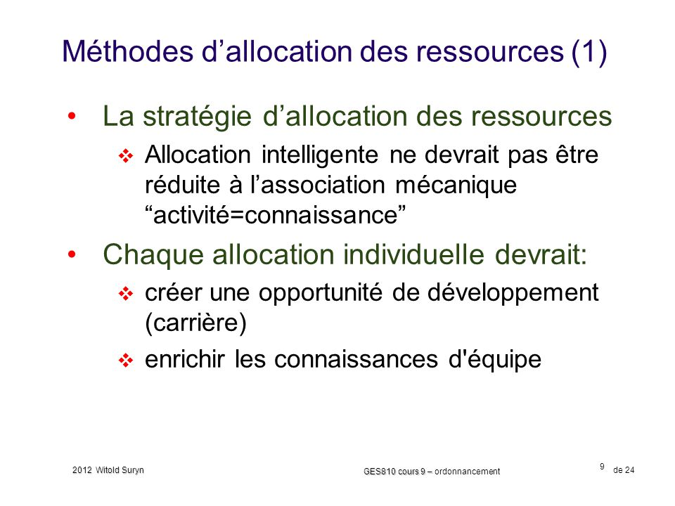 Méthodes d'allocation des ressources (1)