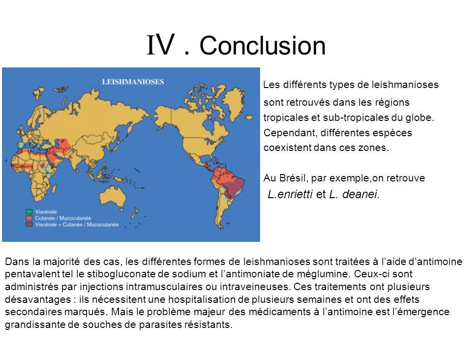 V . Conclusion Les différents types de leishmanioses