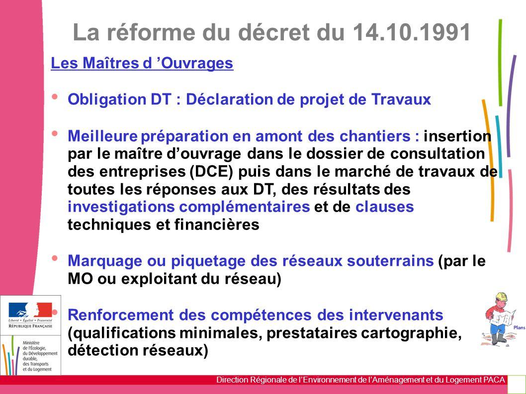 La réforme du décret du 14.10.1991 Les Maîtres d 'Ouvrages