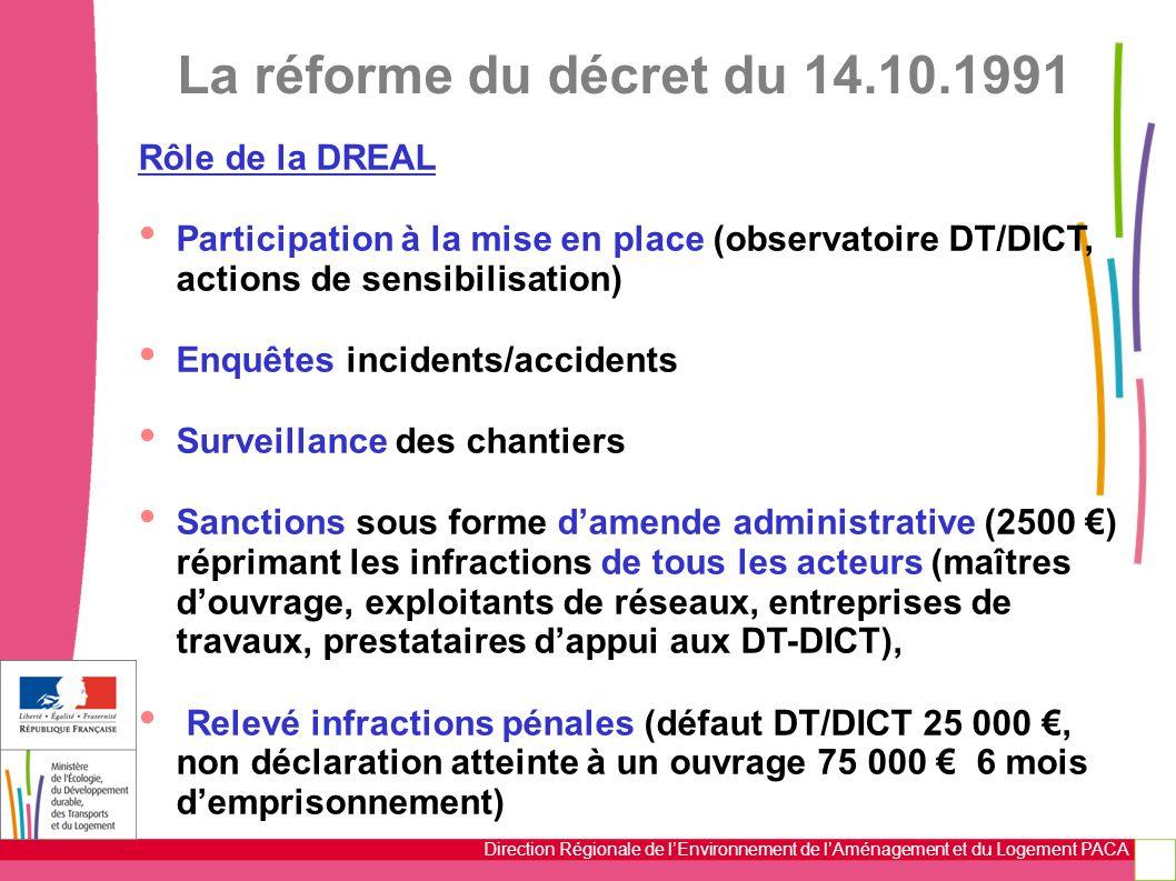 La réforme du décret du 14.10.1991 Rôle de la DREAL