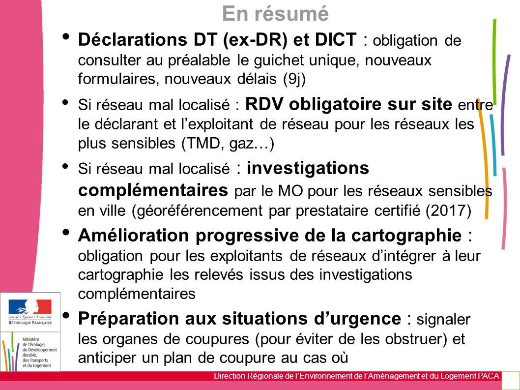 En résumé Déclarations DT (ex-DR) et DICT : obligation de consulter au préalable le guichet unique, nouveaux formulaires, nouveaux délais (9j)