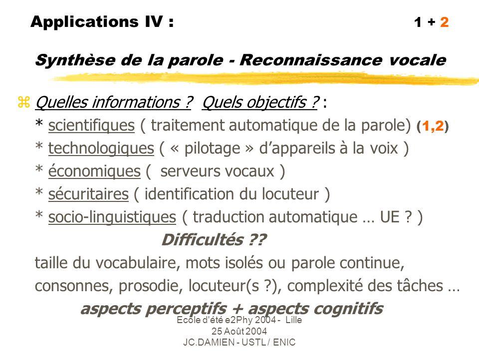 Applications IV : 1 + 2 Synthèse de la parole - Reconnaissance vocale