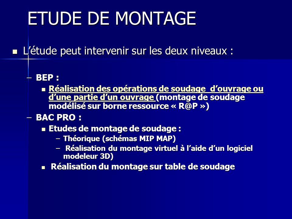 ETUDE DE MONTAGE L'étude peut intervenir sur les deux niveaux : BEP :