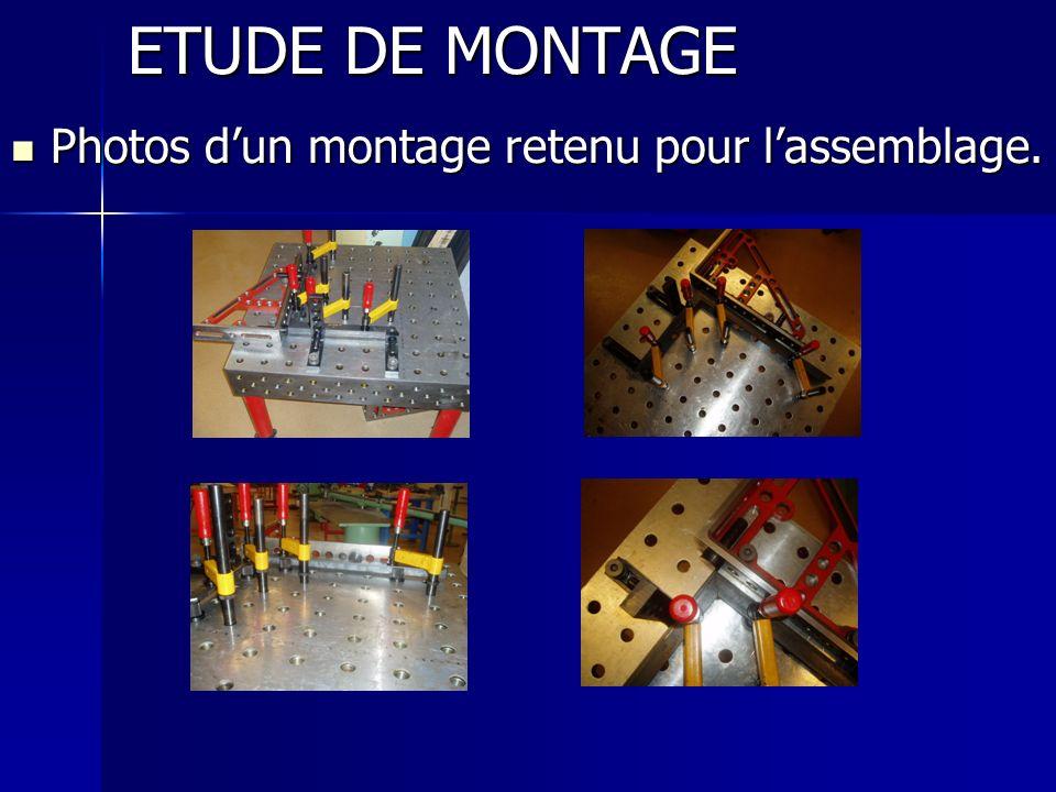 ETUDE DE MONTAGE Photos d'un montage retenu pour l'assemblage.