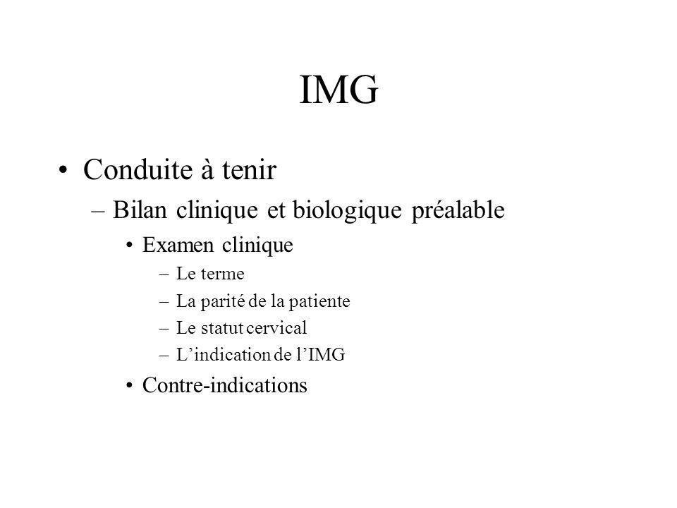 IMG Conduite à tenir Bilan clinique et biologique préalable