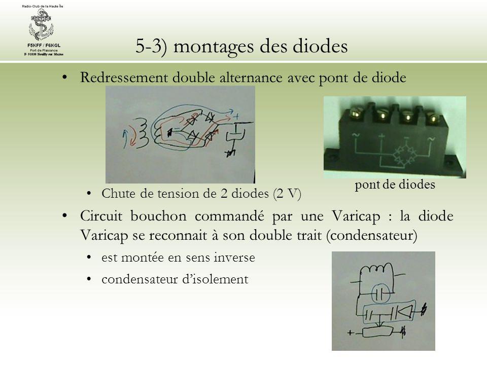 5-3) montages des diodes Redressement double alternance avec pont de diode. Chute de tension de 2 diodes (2 V)