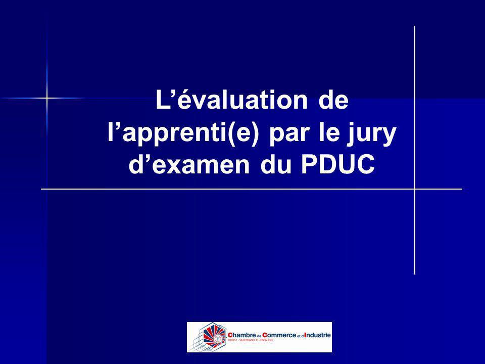 L'évaluation de l'apprenti(e) par le jury d'examen du PDUC
