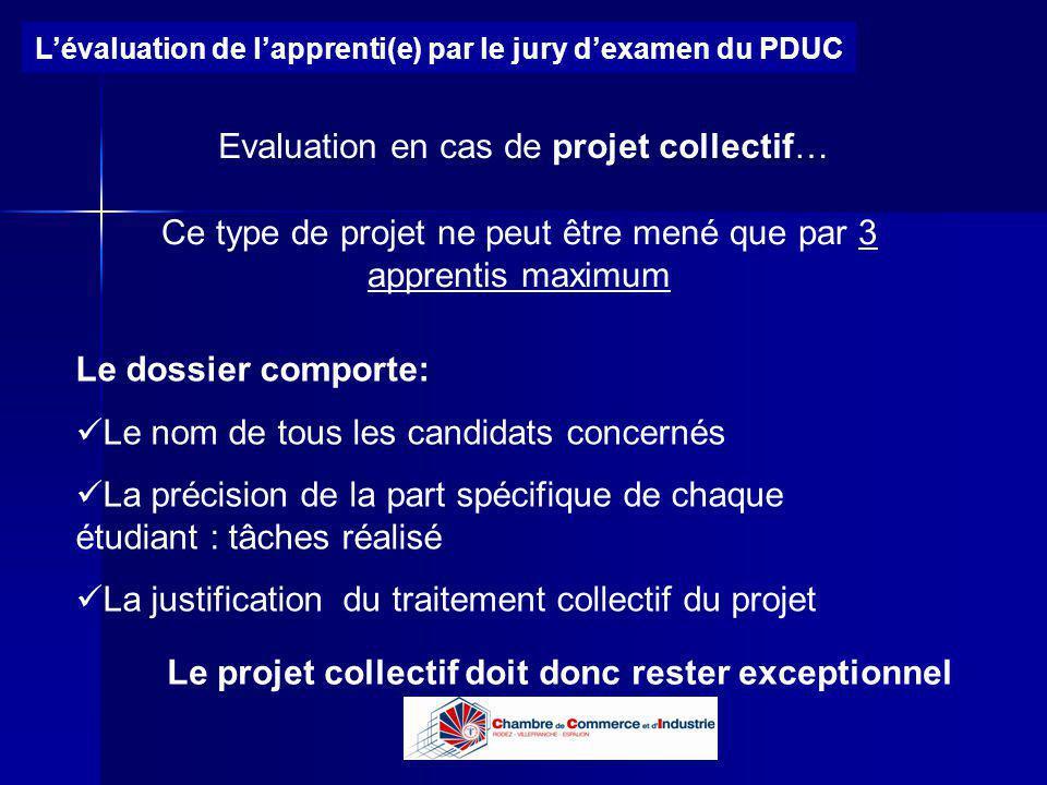 Evaluation en cas de projet collectif…