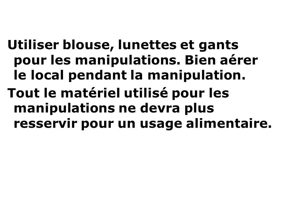 Utiliser blouse, lunettes et gants pour les manipulations