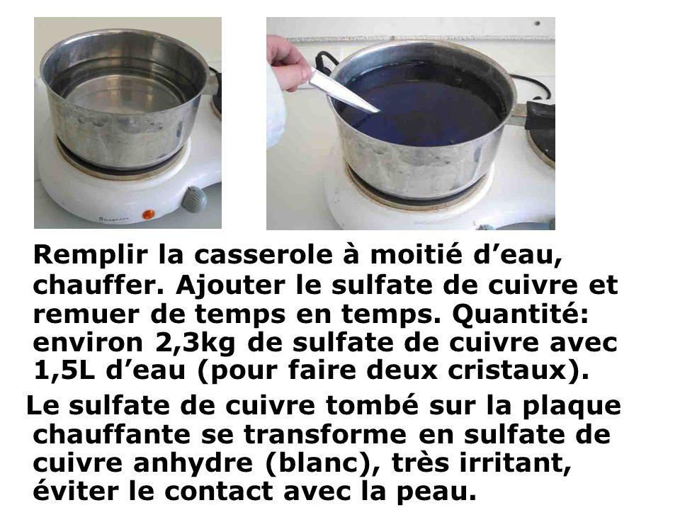 Remplir la casserole à moitié d'eau, chauffer