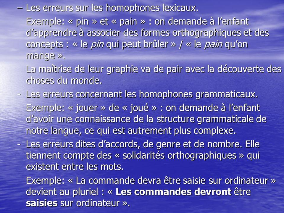 Les erreurs sur les homophones lexicaux.