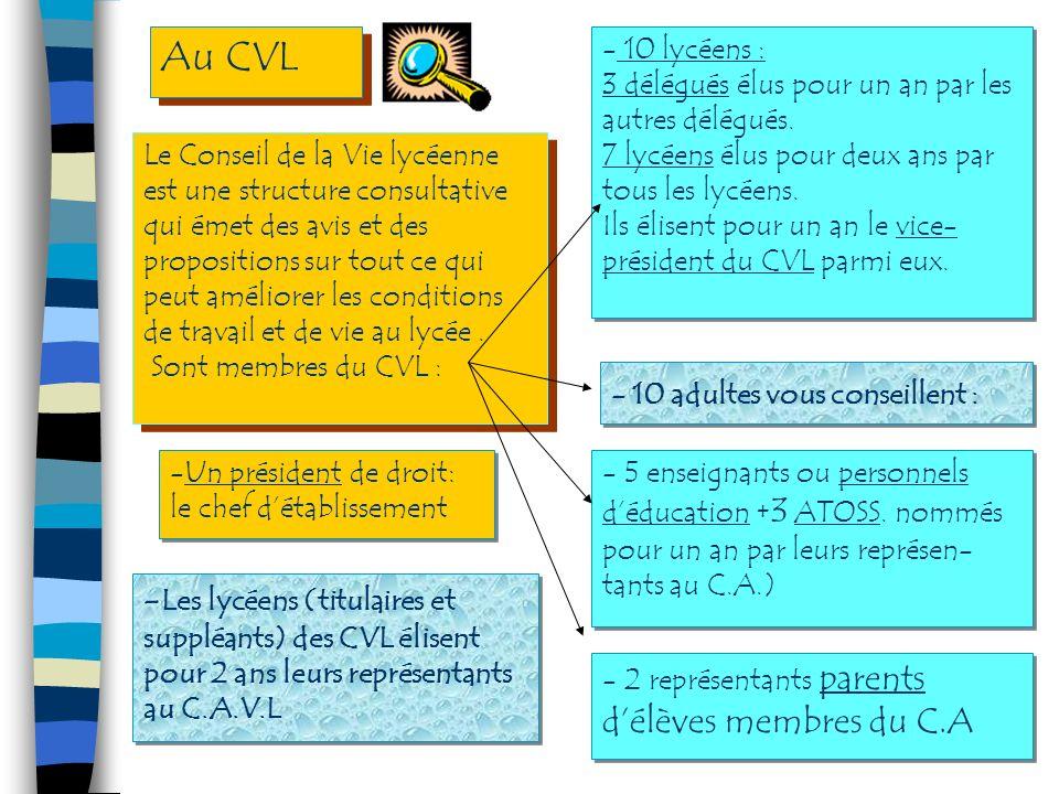 Au CVL 10 lycéens : 3 délégués élus pour un an par les autres délégués. 7 lycéens élus pour deux ans par tous les lycéens.