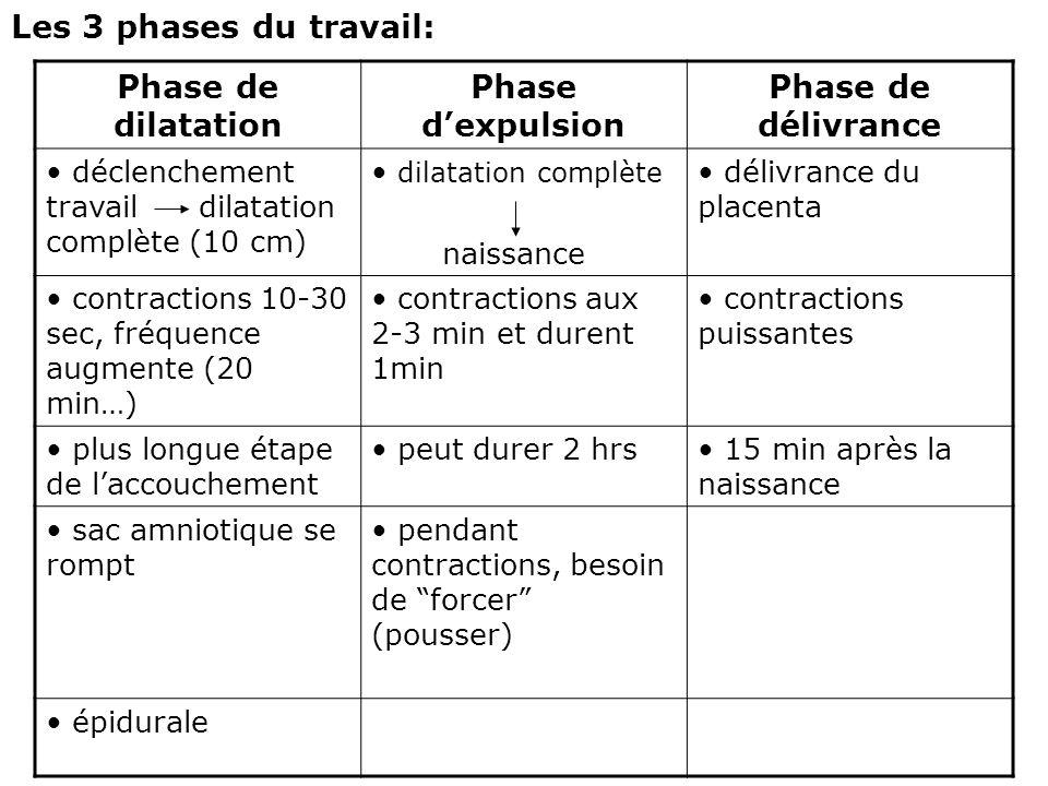 Phase de dilatation Phase d'expulsion Phase de délivrance