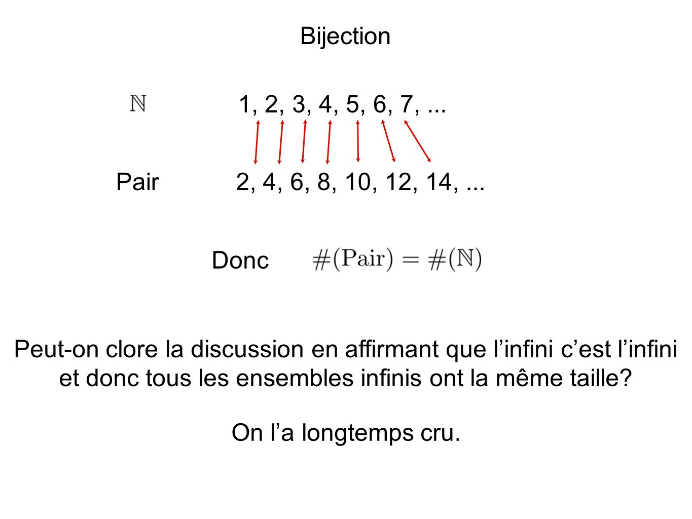 Bijection 1, 2, 3, 4, 5, 6, 7, ... Pair. 2, 4, 6, 8, 10, 12, 14, ... Donc.