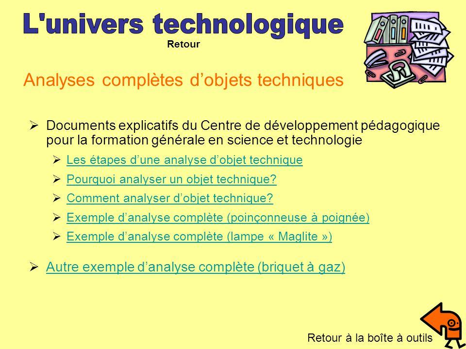 Analyses complètes d'objets techniques