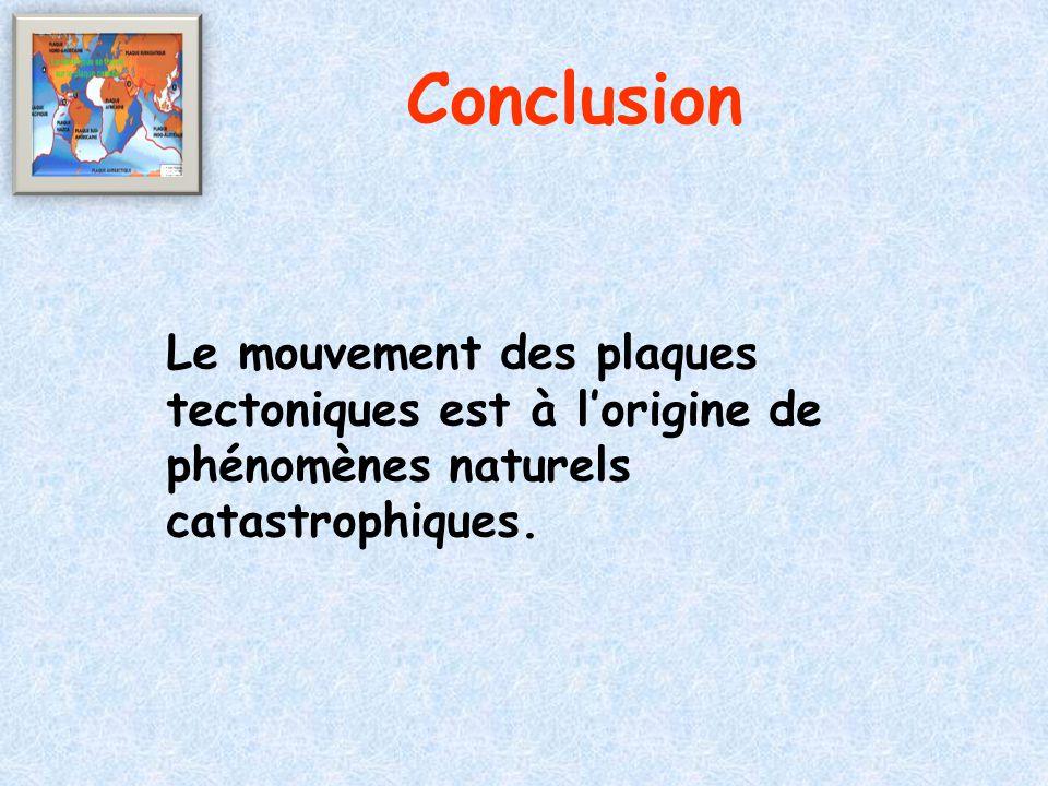 Conclusion Le mouvement des plaques tectoniques est à l'origine de phénomènes naturels catastrophiques.