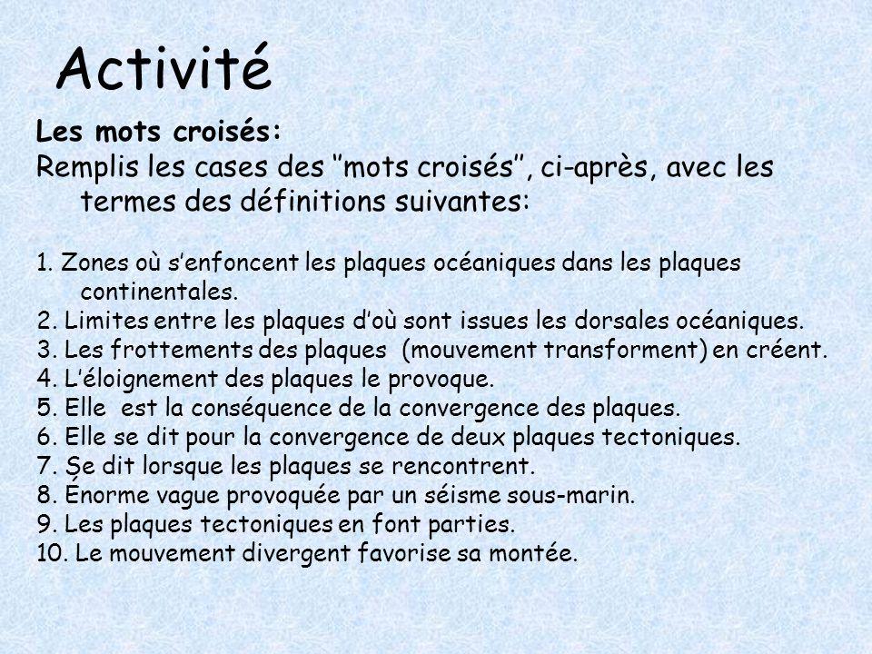Activité Les mots croisés:
