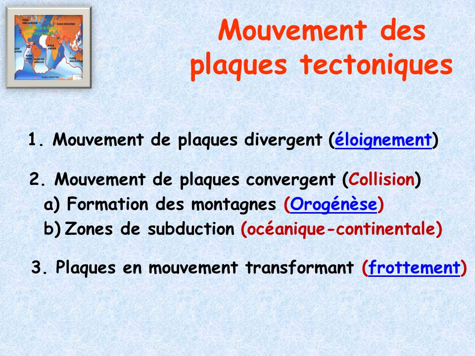 Mouvement des plaques tectoniques