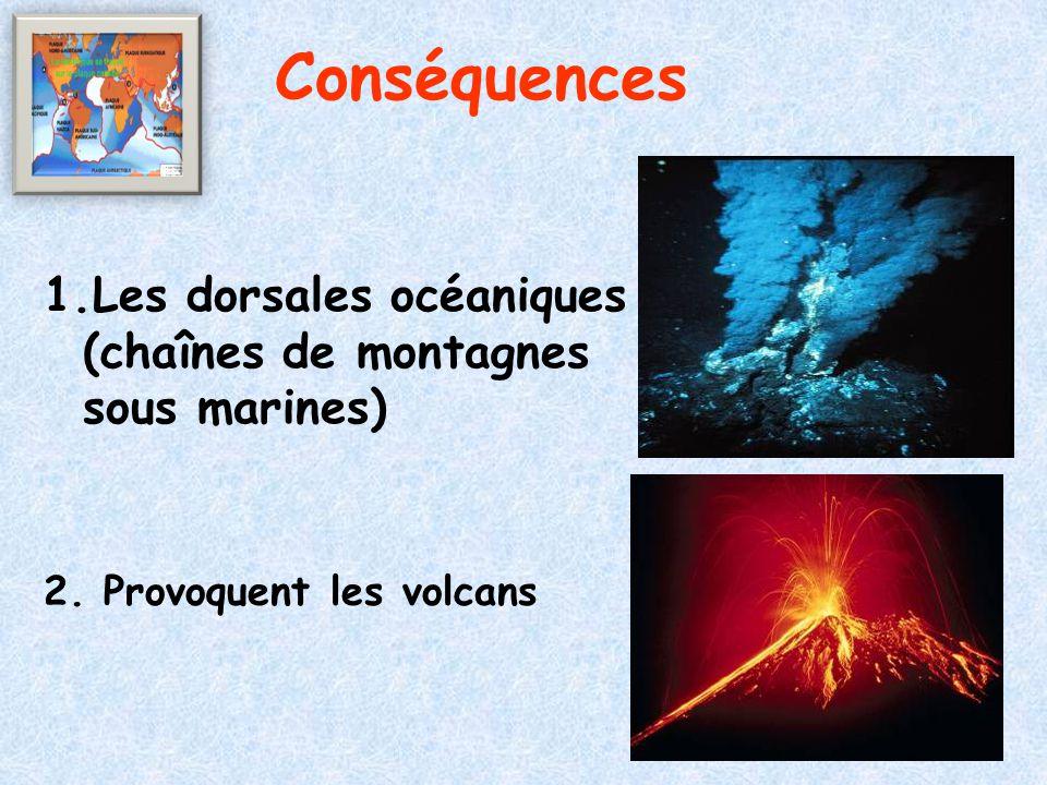 Conséquences 1.Les dorsales océaniques (chaînes de montagnes sous marines) 2.