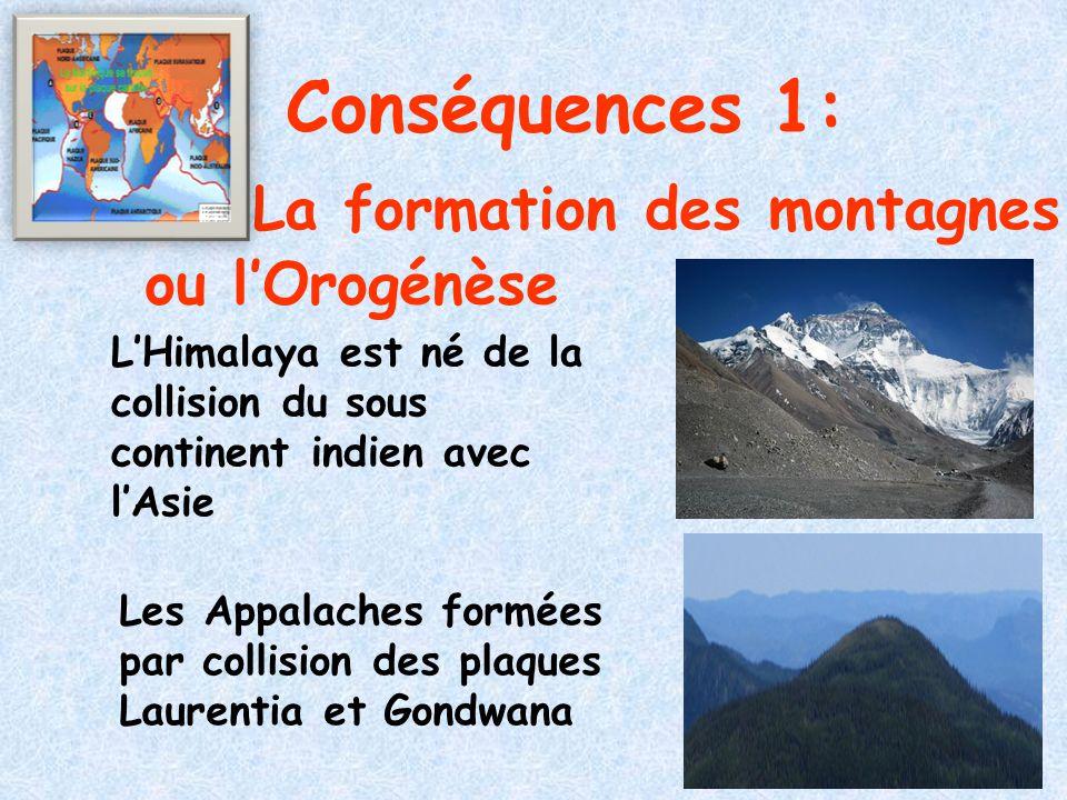 Conséquences 1: La formation des montagnes ou l'Orogénèse