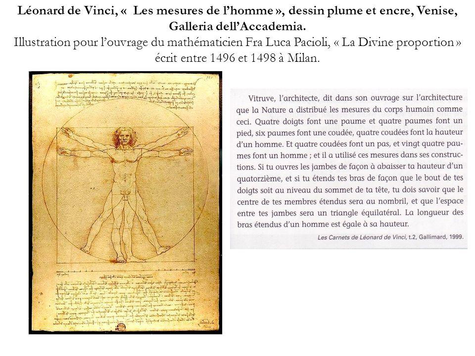 Léonard de Vinci, « Les mesures de l'homme », dessin plume et encre, Venise, Galleria dell'Accademia.