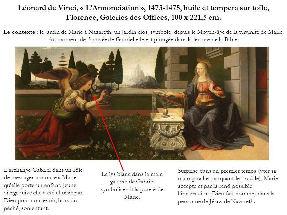 Léonard de Vinci, « L'Annonciation », 1473-1475, huile et tempera sur toile, Florence, Galeries des Offices, 100 x 221,5 cm.